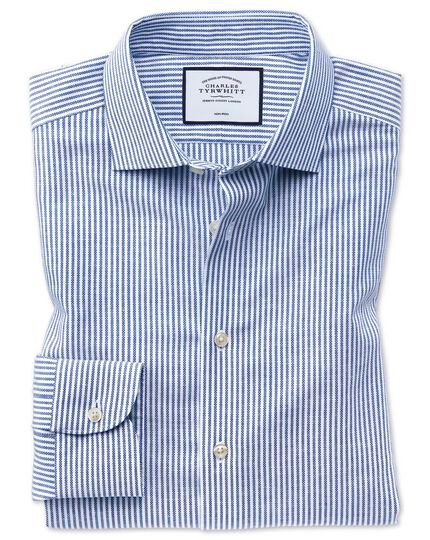 Business Casual Non-Iron Cotton Linen Shirt - Blue And White Stripe