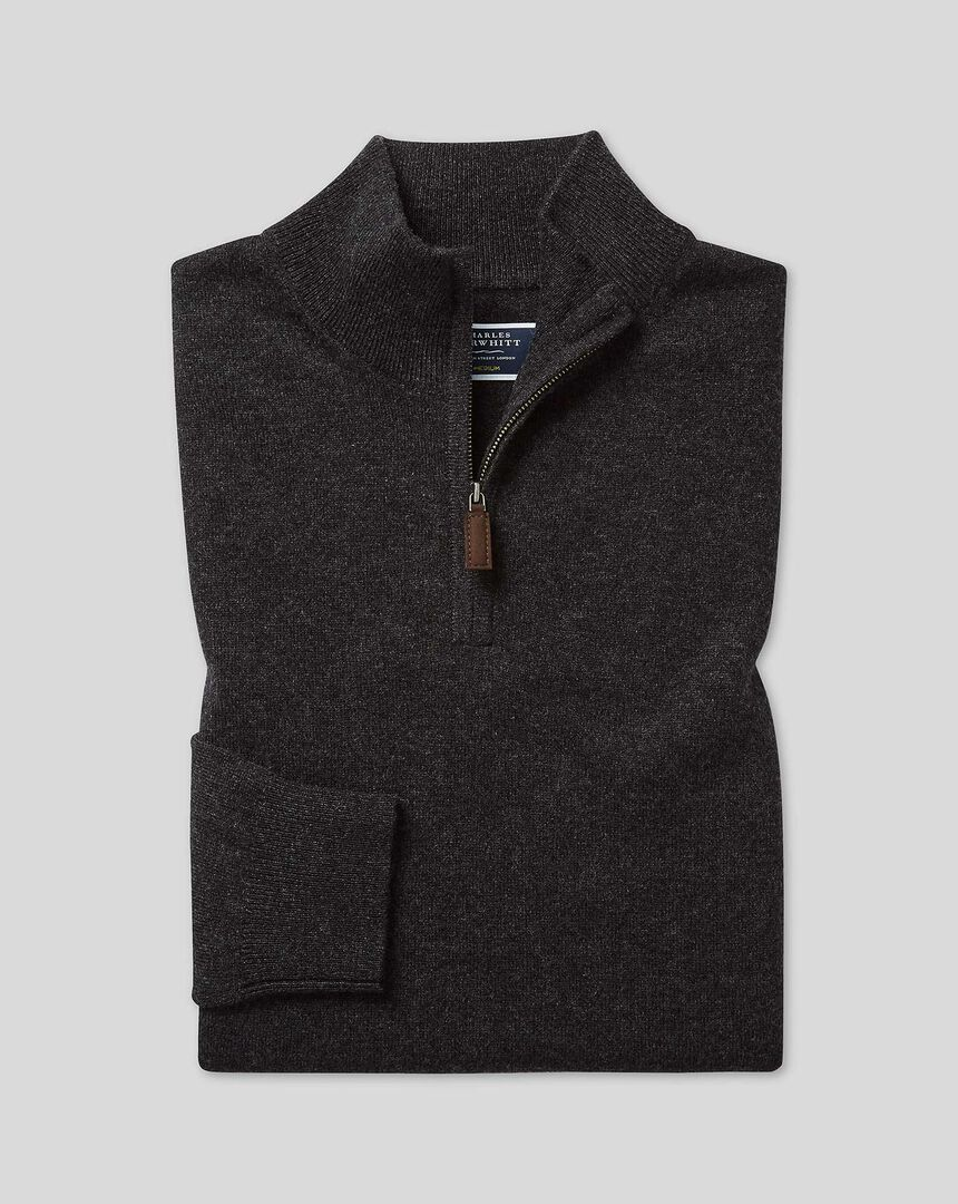 Cashmere Zip Neck Sweater - Charcoal