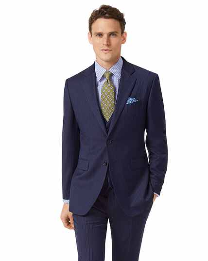 Blue slim fit twill stripe business suit jacket
