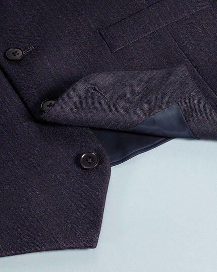 Navy stripe adjustable fit flannel business suit waistcoat