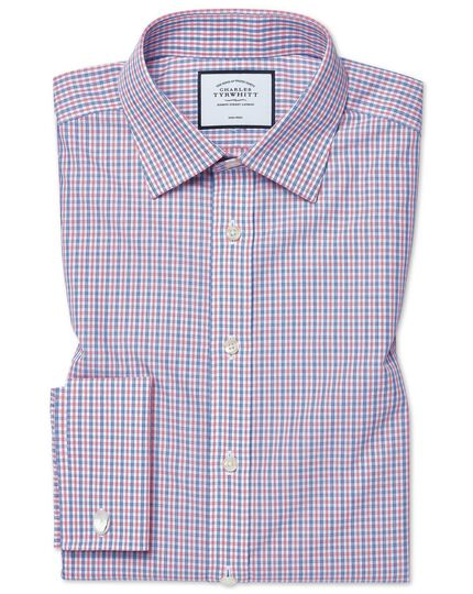 Slim fit non-iron blue and red check shirt