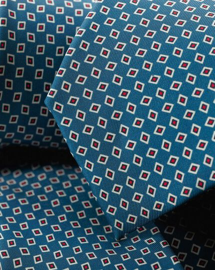 Silk Geometric Print Tie - Blue & Red