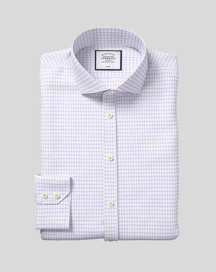 Spread Collar Non-Iron Cotton with TENCEL™ x REFIBRA™ Check Shirt - Lilac