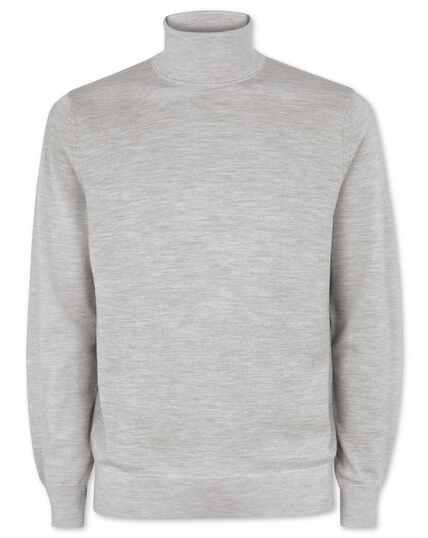 Silver merino roll neck jumper