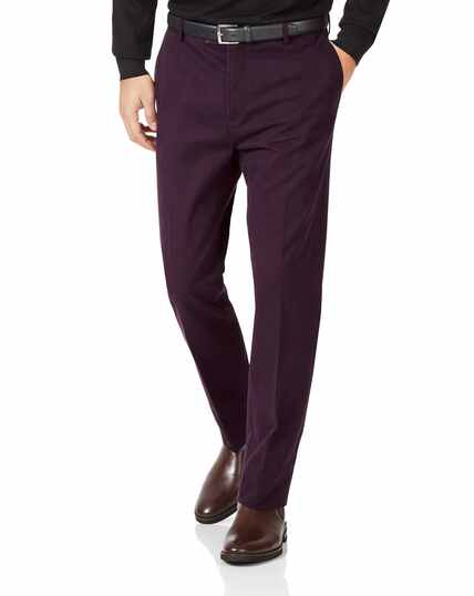 Aubergine slim fit flat front non-iron chinos