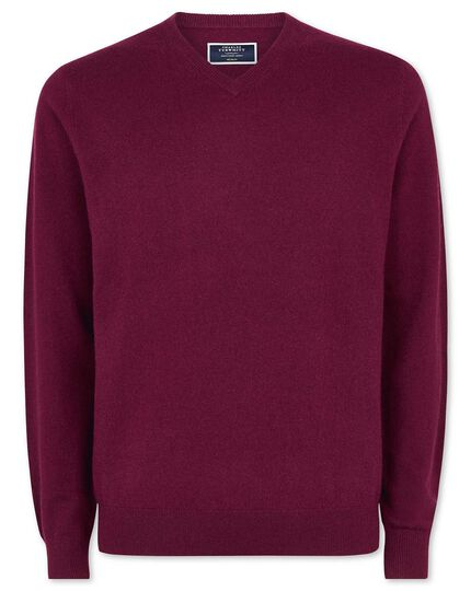 Berry cashmere v neck sweater