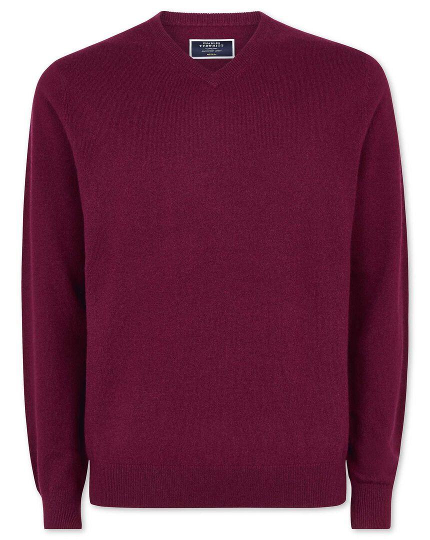 Berry cashmere v neck sweater