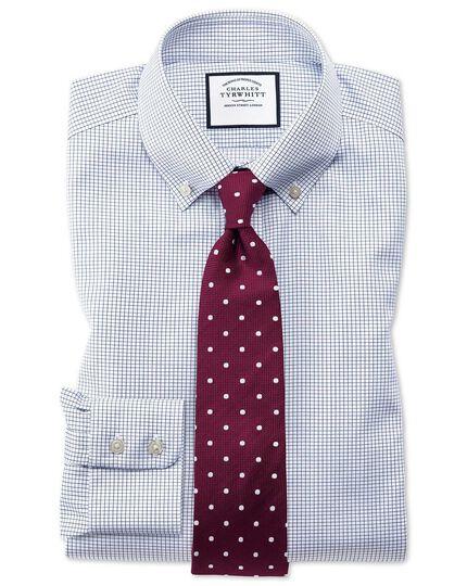 Bügelfreies Extra Slim Fit Twill-Hemd mit Button-down Kragen in Marineblau mit Gitterkaro