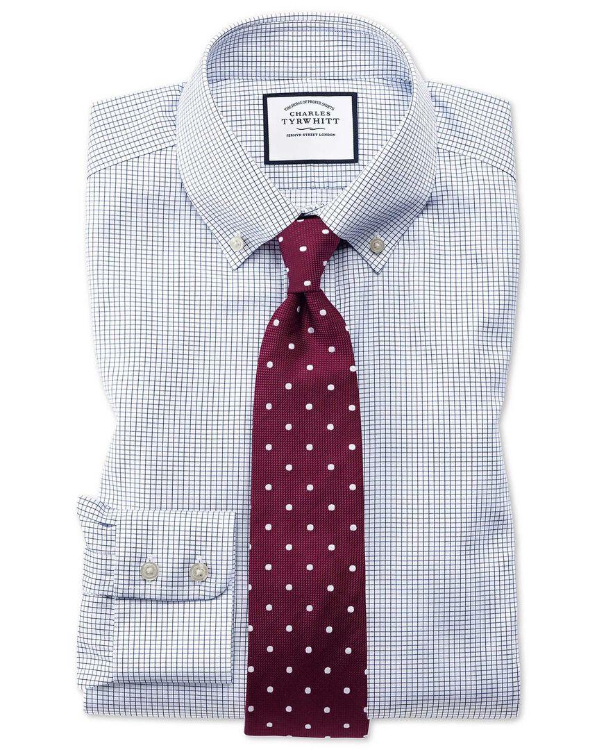 Extra slim fit button-down non-iron twill mini grid check navy shirt