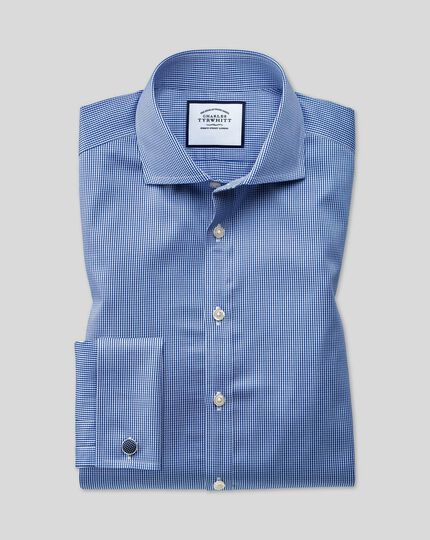 Cutaway Collar Non-Iron Check Shirt - Royal Blue