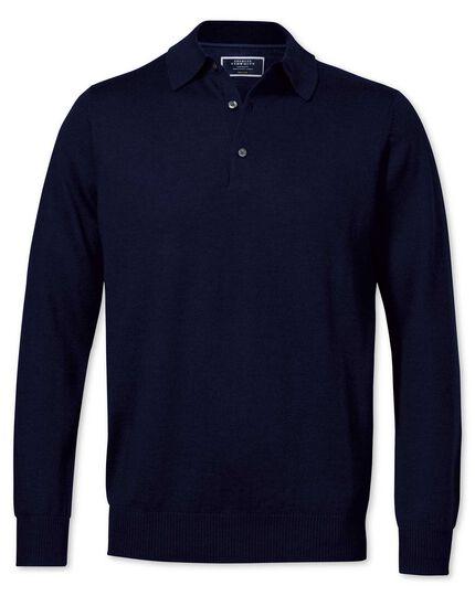 Navy merino wool polo neck sweater