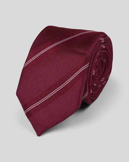 Silk Slim Stripe Tie - Burgundy & White
