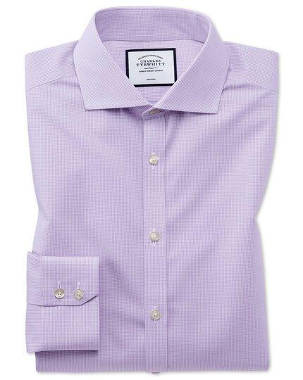 Extra slim fit non-iron 4-way stretch lilac check shirt
