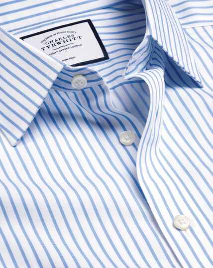 Non-Iron Twill Stripe Shirt - White & Sky
