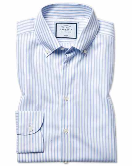Classic fit business casual non-iron sky blue stripe shirt with TENCEL™