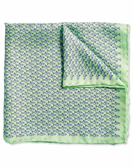 Light green shark print pocket square