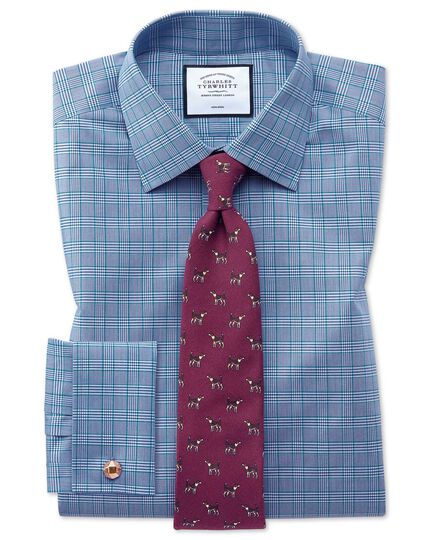Extra slim fit non-iron blue and green Prince of Wales check shirt