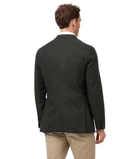 Slim fit green textured stretch cotton jacket