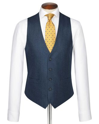Blue adjustable fit twill business suit waistcoat