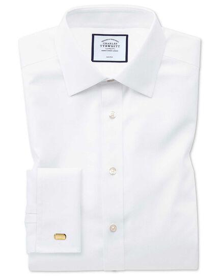 Bügelfreies Extra Slim Fit Hemd aus Triangle Gewebe in Weiß