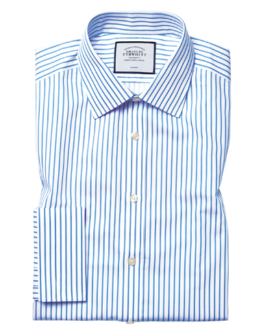 Slim fit non-iron sky blue stripe twill shirt