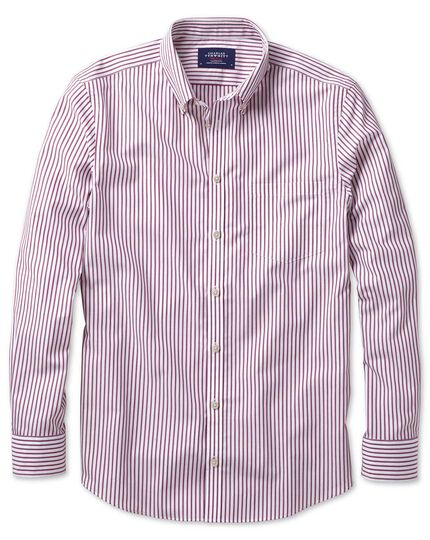 Slim fit button-down non-iron poplin berry stripe shirt