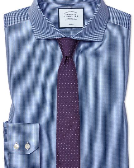 Extra slim fit non-iron spread collar royal blue puppytooth shirt