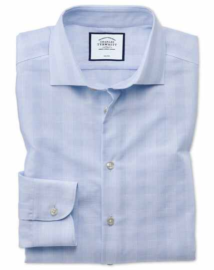 Slim fit business casual non-iron sky blue check shirt