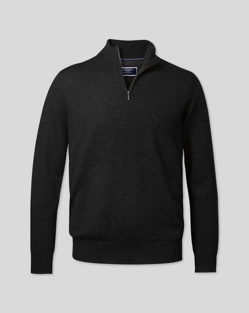 Merino Zip Neck Sweater - Dark Charcoal