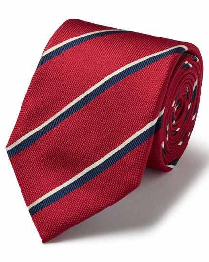 Cravate classique rouge en soie texturée à rayures multicolores