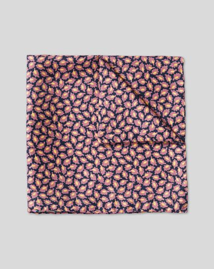 Leaf Print Pocket Square - Pink & Navy