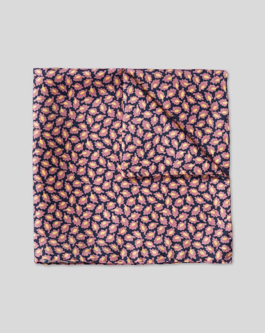 Leaf Print Pocket Square - Pink & Navy