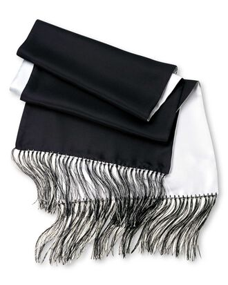 Black and white reversible silk scarf