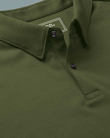 Green plain short sleeve jersey polo