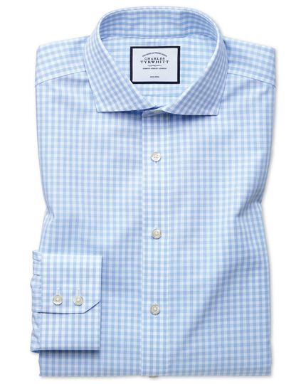 Slim fit non-iron sky blue check Tyrwhitt Cool shirt