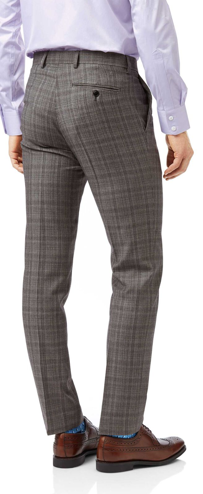 Grey and lilac Prince of Wales check slim fit Italian suit