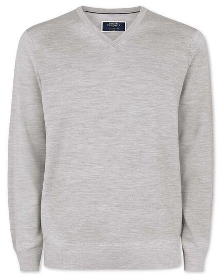 Silver merino v neck sweater