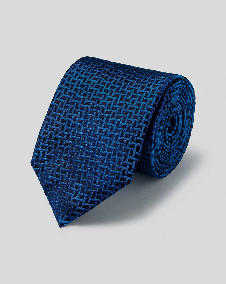 Silk Large Lattice Stain Resistant Classic Tie - Navy & Royal