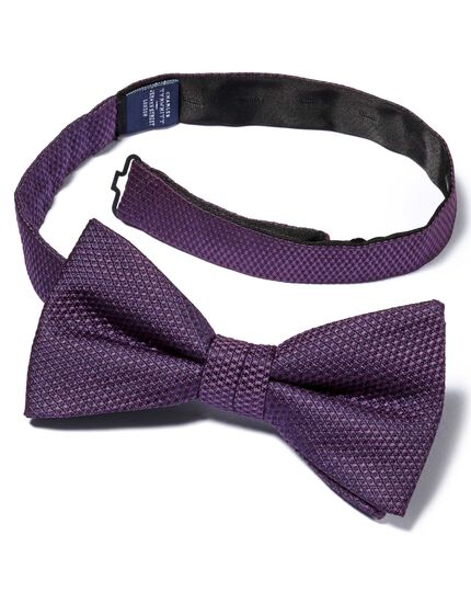 Purple silk plain classic ready-tied bow tie