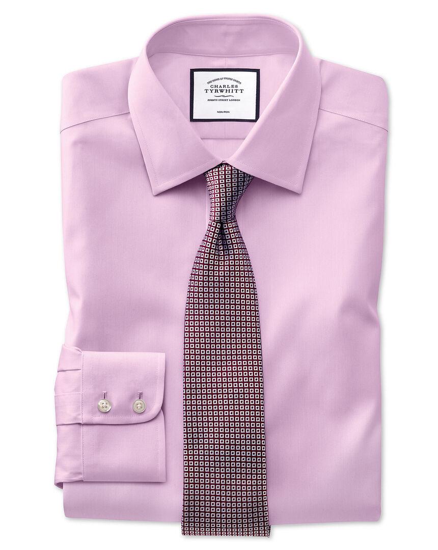 Chemise rose en tissu oxford pinpoint coupe droite sans repassage