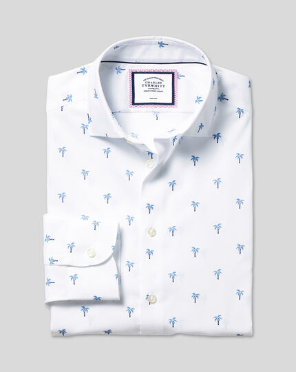 Business Casual Collar Palm Tree Printed Shirt - Blue