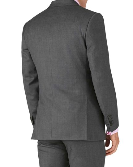 Mid grey slim fit twill business suit jacket