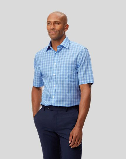 Classic Collar Non-Iron Tyrwhitt Cool Poplin Short Sleeve Check Shirt - Sky