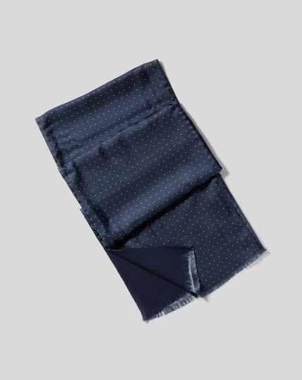 Seidenschal mit Punkten – Marineblau