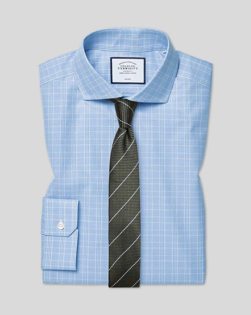 Bügelfreies kariertes Prince-of-Wales-Hemd mit Haifischkragen - Himmelblau