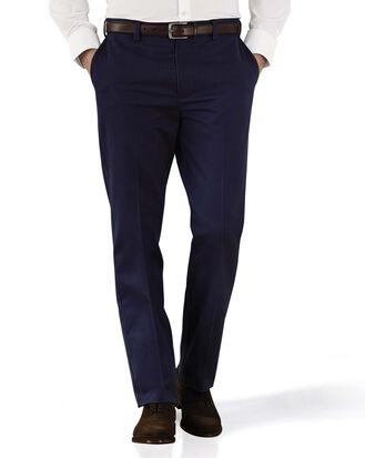 Pantalon chino bleu marine slim fit à devant plat sans repassage