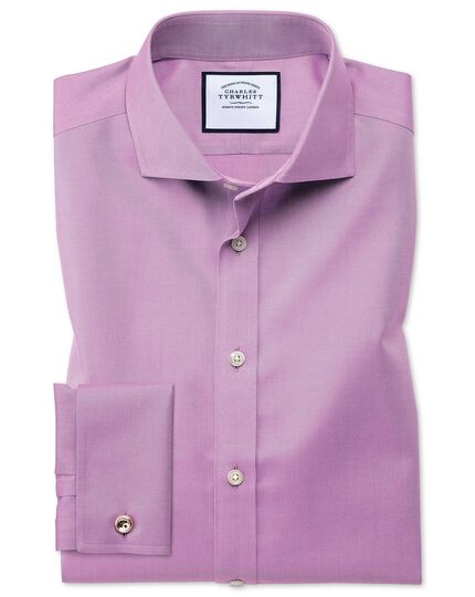 Slim fit spread collar non-iron twill violet shirt