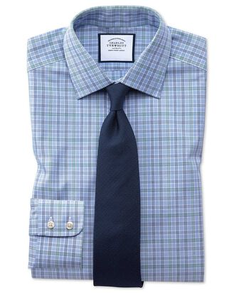Slim fit blue and green Prince of Wales check shirt