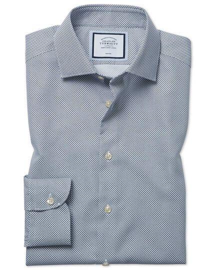 Bügelfreies Extra Slim Fit Hemd mit Kreisen in Marineblau