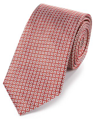 Coral and white silk square lattice classic tie